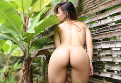 Abella Sexy Babe Nude Exotic Latina Outdoors Shaved Ass Pussy Labia Back Tanned Hot Abella Jade Wallpaper