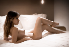 Alexandra Smelova In Bed Boobs Big Tits Nipples Legs Naked Sexy Wallpaper