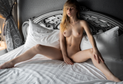 Alexandra Smelova Naked In Bed Blonde Spread Legs Boobs Tits Puffy Nipples Wallpaper