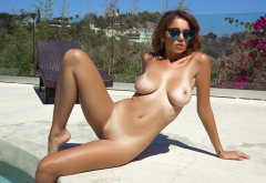 Ali Rose Playboy Pool Tan Lines Boobs Big Tits Nipples Shaved Pussy Brunette Sunglasses Sexy Wallpaper