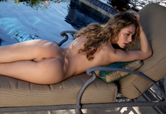 Alice Antoinette Shaved Pussy Labia Pussy Ass Pool Tanned Naked Wallpaper