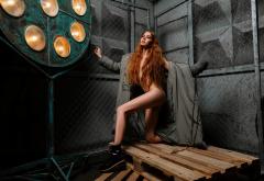 Alina Maier Shoes Naked Closed Eyes Long Hair Strategic Covering Redhead Wallpaper