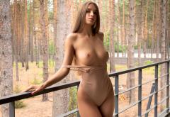 Alina Model Brunette Long Hair Sensual Lips Pretty Bodysuit Big Tits Tits Boobs Perfect Tits Outdoor Wallpaper