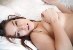 Alisa Schmidtova Naked Brunette In Bed Hot Wallpaper