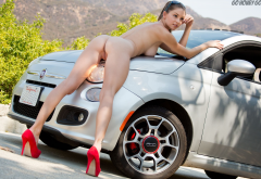 Amber Sym Tits Boobs Legs Ass Big Tits Nude Sexy Red Heels Fiat High Heels Shaved Pussy Pussy Labia Wallpaper
