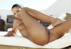 Angel Dark Naked Ass Anus Labia Pussy Boobs Tits Brunette Tanned Wallpaper
