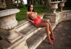 Vivien Mareeva Tanned Brunette Fake Boobs Boobs Big Tits Red Lingerie Red Bra Red Panties Bra Panties Lingerie High Heels Wallpaper