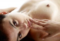 Wet Boobs Nipples Tits Face Brunette Eyes Wallpaper