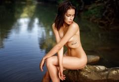 Wet Brunette Skinny Legs Tanned River Wallpaper
