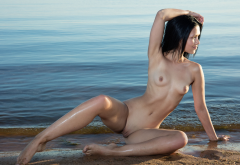 Wet Shaved Pussy Meat Curtains Small Tits Nipples Sea Beach Labia Pussy Smiling Wallpaper