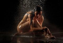 Wet Shower Tanned Naked Legs Brunette Wet Hair Wallpaper