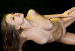 Wet Trimmed Pussy Boobs Tits Nipples Nude Brunette Sexy Closed Eyes Wallpaper