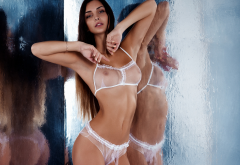 White Lingerie Sexy Hot Tanned Seethrough Tits Boobs Nipples Reflection Brunette Wallpaper