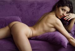 Women Ass Couch Red Nails Thong Brunette Topless Wallpaper