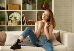Women Closed Eyes Overalls Sitting Glasses Shoes Covering Boobs Boobs Plants Flowers Couch Wallpaper
