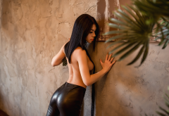 Women Topless Leather Leggings Boobs Strategic Covering Black Hair Tits Wallpaper